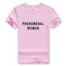 Female Tshirt Gray Black Drop Ship PHENOMENAL WOMAN Letter Print T-Shirt Women Funny Graphic Tshirt Casual Tee Top