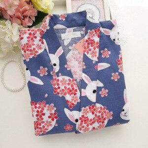Image 3 - Batas de kimono Kawaii sakura para mujer, conjuntos de Pijamas cortos de verano, 100% de algodón, pantalón corto japonés yukata, albornoces, ropa de dormir