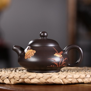 Sand pot of rhyme sea yixing recommended undressed ore black mud sketch pot famous vivi zhu all hand kunfu tea