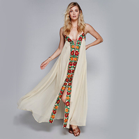 Floral Embroidery Boho Maxi Dresses Summer Spaghetti Strap Lace Tied Slit Ethnic Hippie Style Vintage Plus