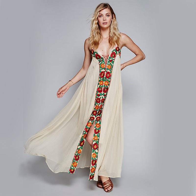 Floral Embroidery Boho Maxi Dresses Summer Spaghetti Strap Lace Tied Slit Ethnic Hippie Style Vintage Holiday