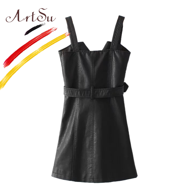 ArtSu Koreja Ženska haljina od špageta s trakom Vestidos 2017 jesen - Ženska odjeća - Foto 4