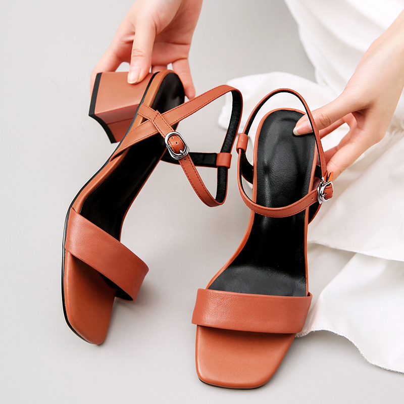 EGONERY student cozy gem blue woman sandals 2019 summer white wedding shoes fashion cute girl orange 5.5cm med heels women shoes-in Middle Heels from Shoes    2