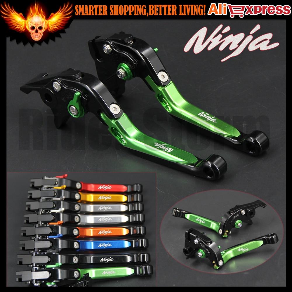 Palancas de embrague de freno ajustable de la motocicleta extensible de color verde para kawasaki NINJA 300R 2013-2016, NINJA 250R 2008-2012