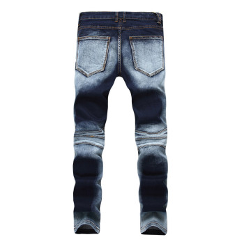 2019 Autumn men ripped jeans slim fit denim pants tiedye jeans men pleated motorcycle biker jeans hip hop strech for man 1