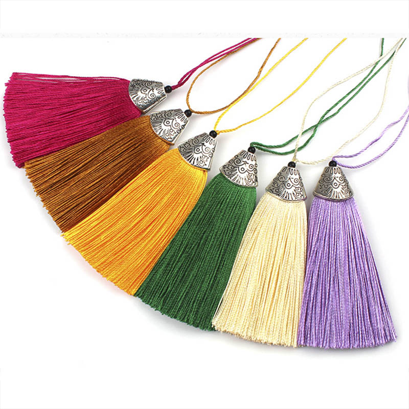 10pcs 8cm Colorful Silk Tassel With Caps Decorative Tassel Pendant Earrings Charm For DIY Jewelry Making Hangling Accessories