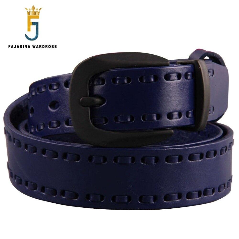 FAJARINA Ladies High-grade Cow Skin Belt Fashion Cowhide Genuine Pure Leather Woven Fine Multi-colour Belts for Women N17FJ231