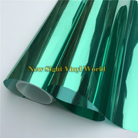 VLT 15 Green Silver Solar Reflective Window Film Tint For Buliding Home Office Size 1 52