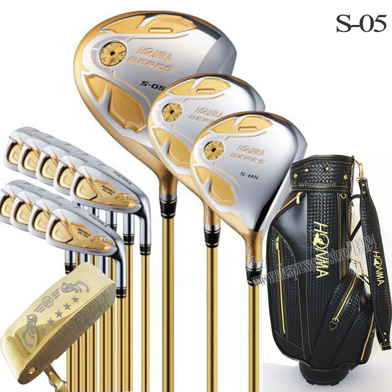 Novos Clubes de Golfe Honma S-05 4 estrelas clubes conjunto completo de Golfe Driver + madeira + ferros + putter + saco eixo do Golfe grafite headcover Frete grátis