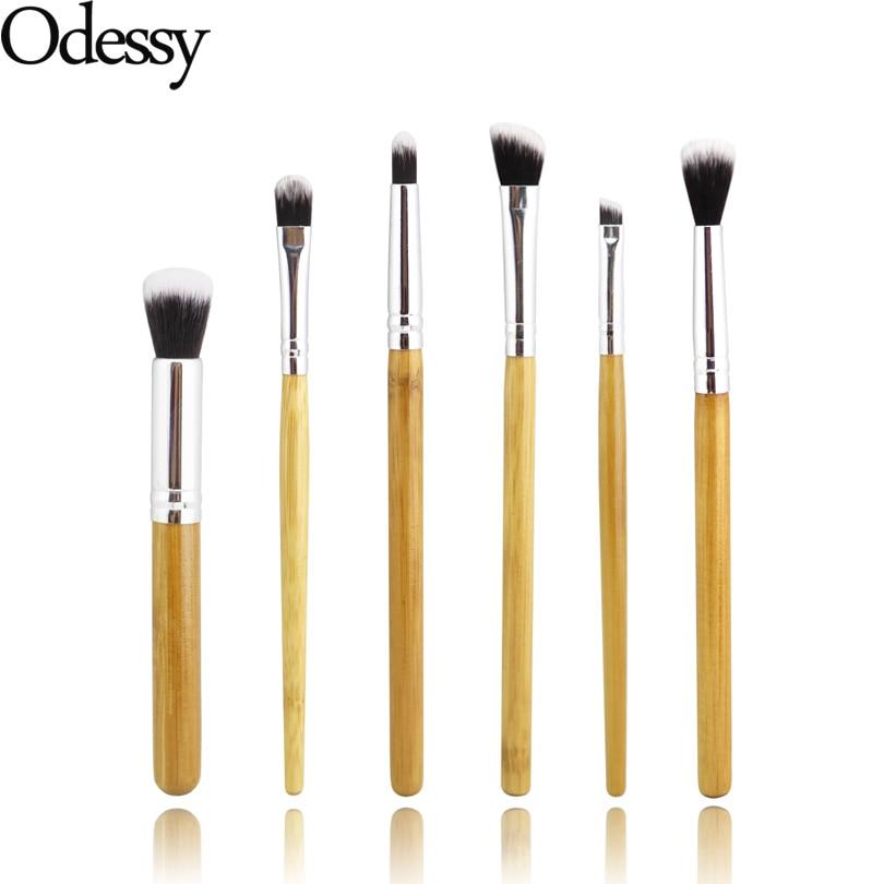 ODESSY Nya professionella 6 stycken ögon makeup borstar Full uppsättning ögonskugga highlighter blandning make up borste kit med bambu handtag