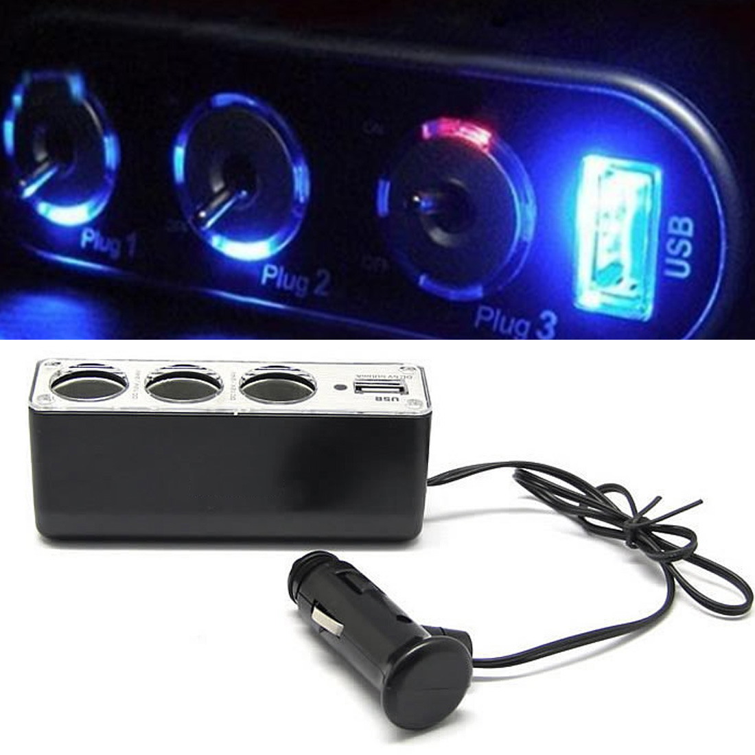 Factory Price New USB Charger Supply Triple Sockets Car Cigarette Lighter Splitter Cargador  Free Shipping