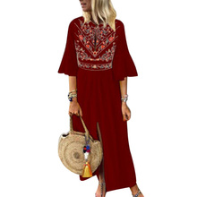 Women Vintage Dress Beach Half Sleeves V Neck Print Loose Slit Casual for Summer TH36