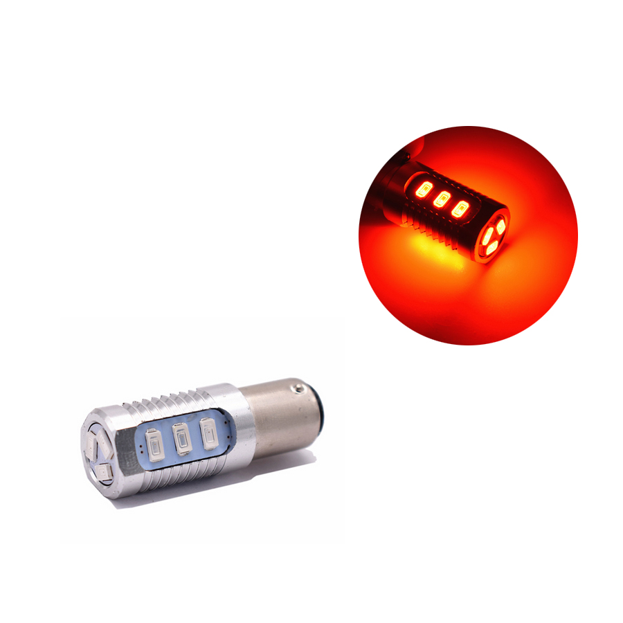 2X 1157 Red Flashing Strobe Blinking Rear Alert Safety Brake Tail Stop High Power LED Light Bulbs