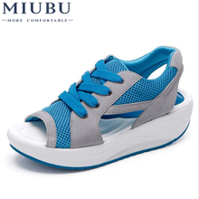 MIUBU Fashion Summer Womens Sandals Casual Mesh Breathable Shoes Comfortable Wedges Lace Platform Sandalias