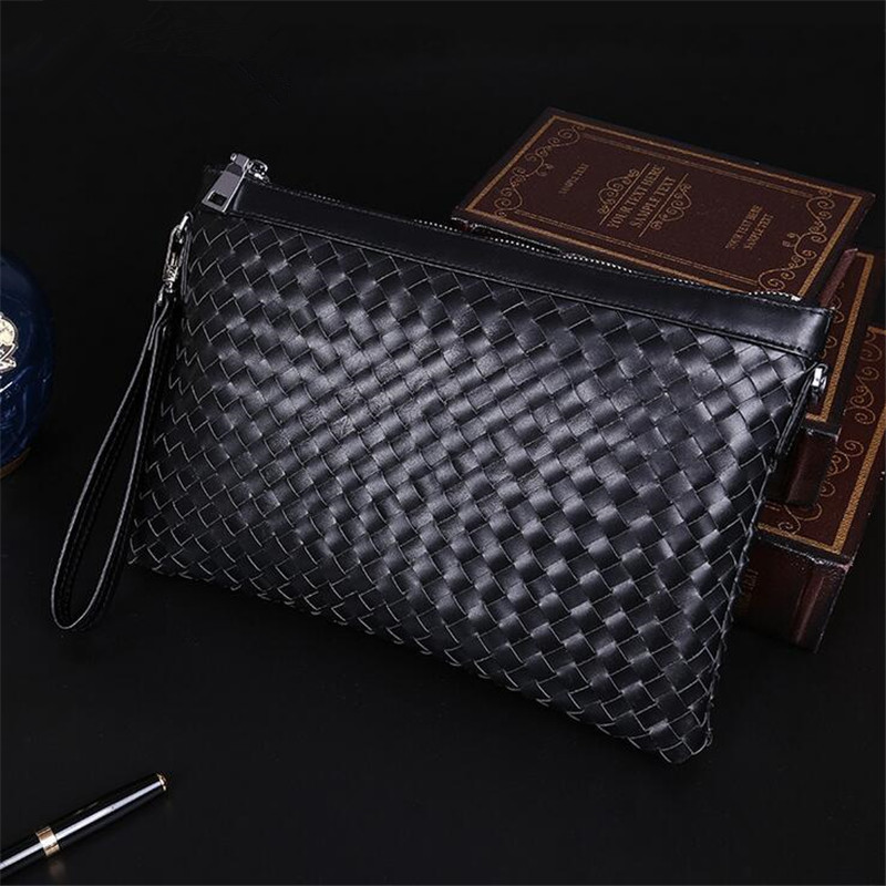 2016 successful man woven leather shoulder Messenger multifunctional handbag leather woven Clutch hot free shipping