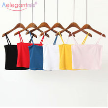 Aelegantmis gorąca sprzedaż dzianiny Crop Tops kobiety gorset Sexy Slash Neck Tank Tops Lady Stretch Slim krótki Camis lato kamizelka(China)