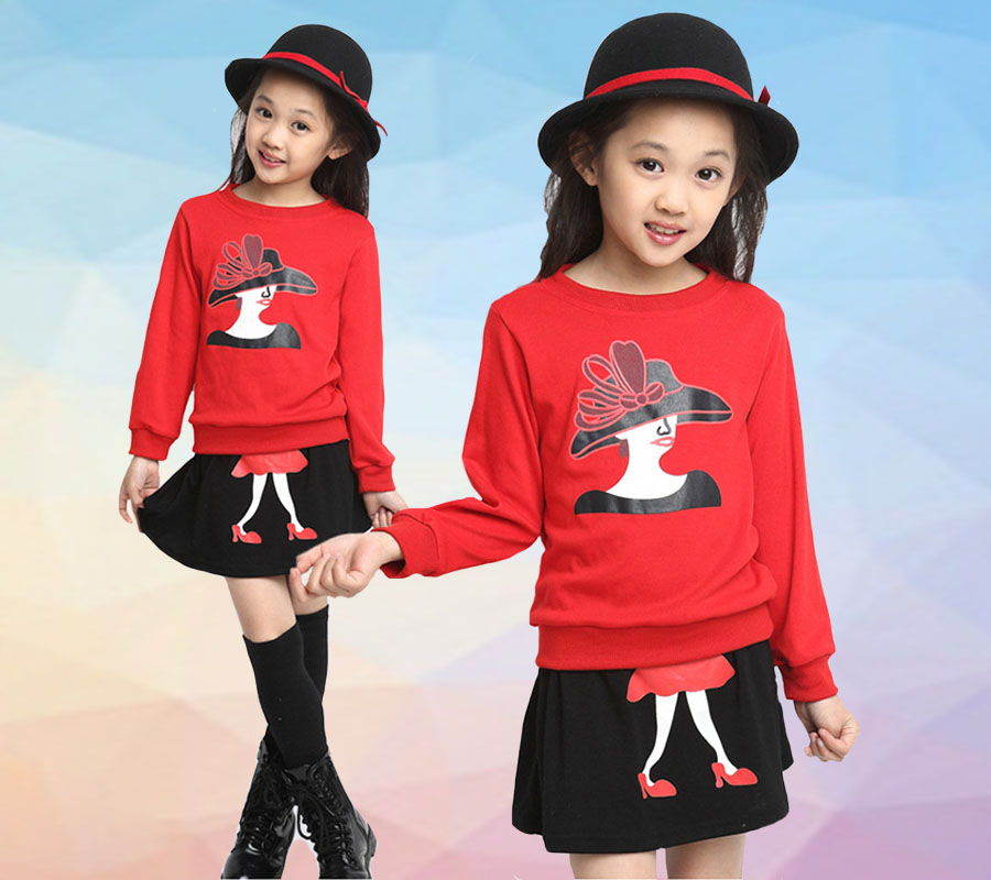 Child Clothing 2017 Spring Autumn Girls long Sleeve Casual Clothes Fashionable Mini Skirt Suit 2 6 Y Babys High Quality Clothes in Clothing Sets from Mother Kids