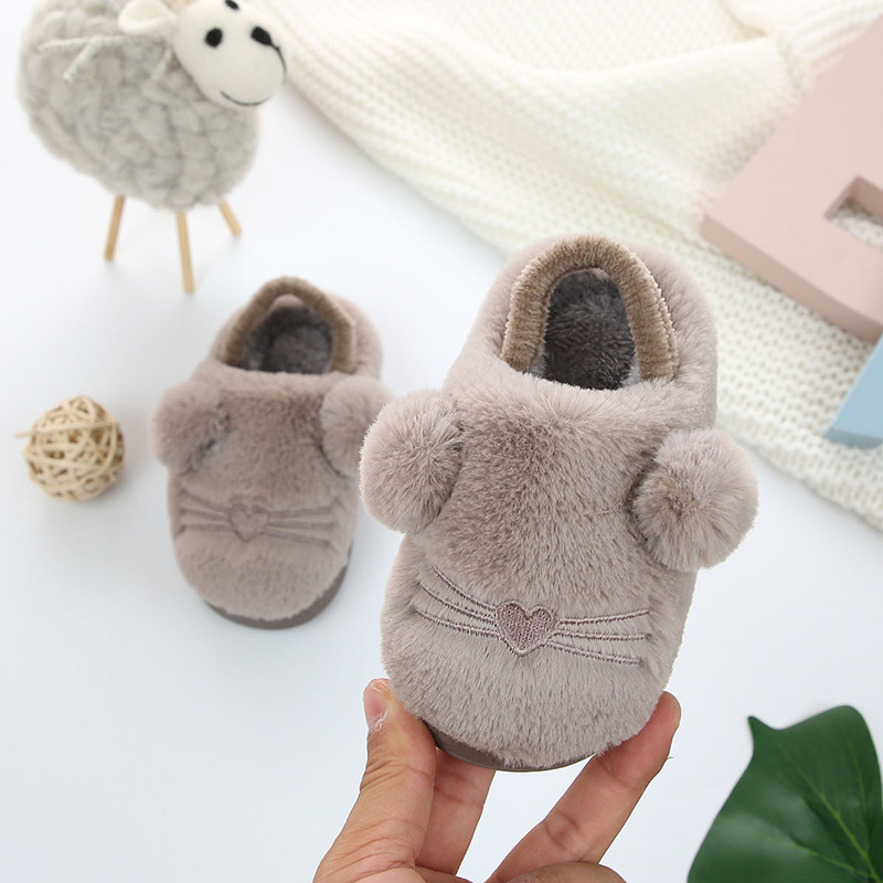 Winter Kids Baby Slippers Home Shoes Children Cotton Slippers Girls Toddler Shoes Cute Indoor Slippers Baby Boy Thick Warm Shoes
