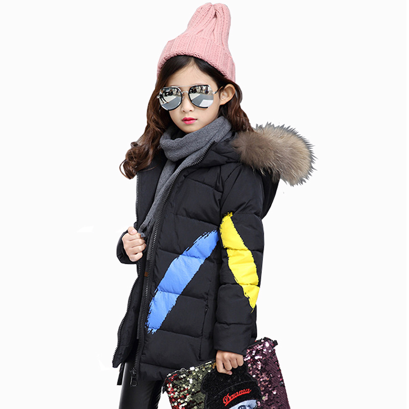 2017 Winter New Girls Cotton Padded Jacket Hooded Children's Fashion Cartoon Casual Thickening Coat Kids Keep Warm Coat 3 Colors