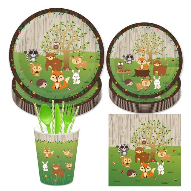 Omilut 우드랜드 동물 생일 파티 일회용 식기 세트 정글 사파리 동물 일회용 접시/컵/냅킨 동물 장식
