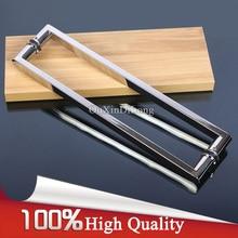 High Quality 304 Stainless Steel Frameless Shower Bathroom Glass Door Handles Pull / Push Handles Glass Mount Chrome Finished цена 2017