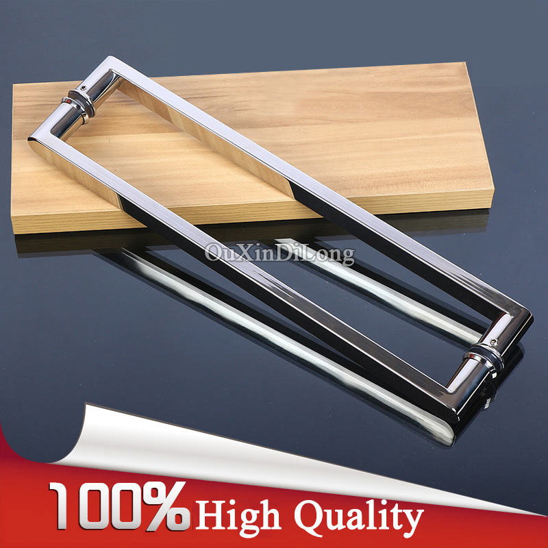 High Quality 304 Stainless Steel Frameless Shower Bathroom Glass Door Handles Pull / Push Handles Glass Mount Chrome Finished