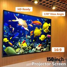amzdeal Foldable 150 inch 16:9 Projector White Projection Screen For HD Projector Home Theater Cinema Movies Party Indoor Outdor