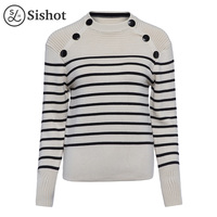 Sishot Women Casual Knitwear 2017 Autumn Winter Light Apricot Stripes Wool Black Long Sleeve Button Thick