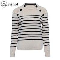 Sishot Women Casual Knitwear 2017 Autumn Winter Light Apricot Stripes Wool Black Long Sleeve Button Thick