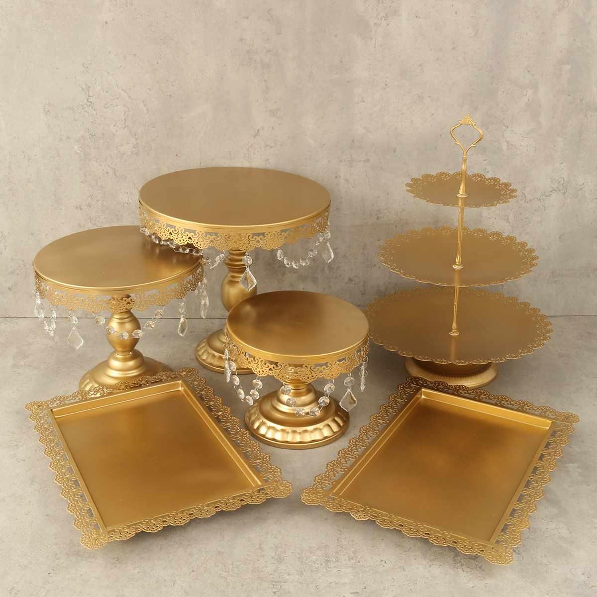 6 pièces/ensemble or blanc métal Grand boulanger gâteau Stand ensemble outils de gâteau de mariage Fondant gâteau présentoir Kit pour fête ustensiles de cuisson accessoire