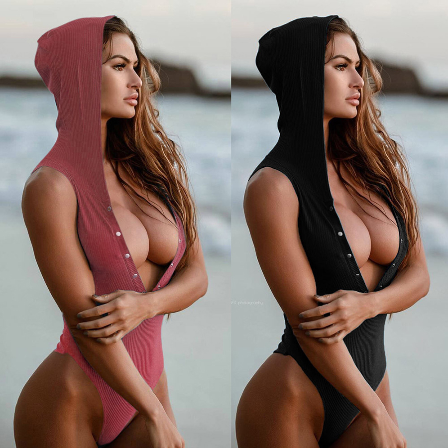2016 Sport Style Swimsuit One Piece Women Deep V Neck Solid Swimwear Hooded Thong Bathing Suit Female Maillot De Bain Swimsuits