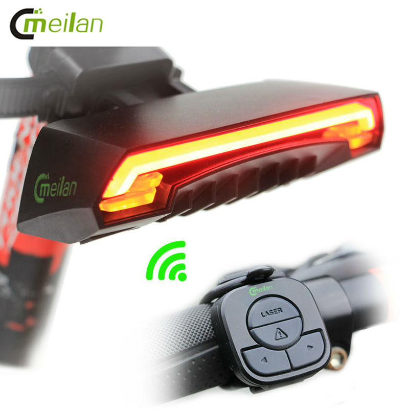 Bike light meilan bicycle led light remote wireless rear light turn signal with laser beam usb