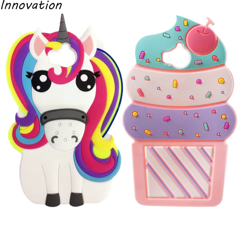 Galleria fotografica Innovation For Huawei Y5 2017 Phone Case 3D Cute Cartoon Unicorn Ice Cream Cupcakes Soft Silicone Back Cover For Huawei Y 5 2017