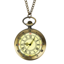 купить Bronze Roman Number Open Face Pocket Watch Men Women Unisex Pendant Watches Vintage Gift по цене 220.43 рублей