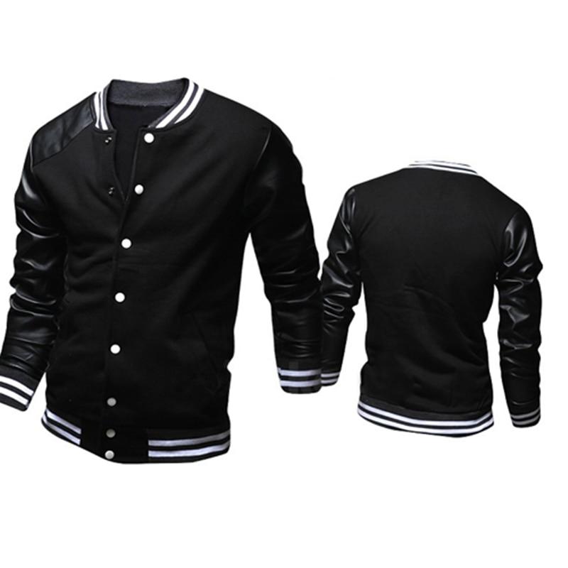 Cool College Baseball Jacket Men 2017 Fashion Design Black Pu Leather Sleeve Mens Slim Fit Varsity Sweatshirt Brand Veste Homme