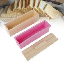 Heißer Verkauf 900ml/1200ml Silikon Seife Form mit Deckel Rechteck Seife Form Holz Seife Mould Box Seife form DIY Machen Werkzeug