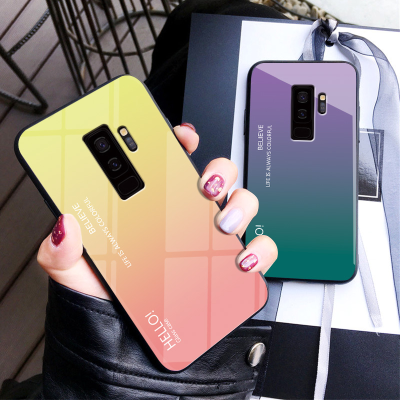 Gradient Phone Case For Samsung Galaxy S10e S10 S9 S8 Plus S7 edge Note 9 Note 8 A6 A8 Plus 2018 Cases Tempered Glass Back Cover
