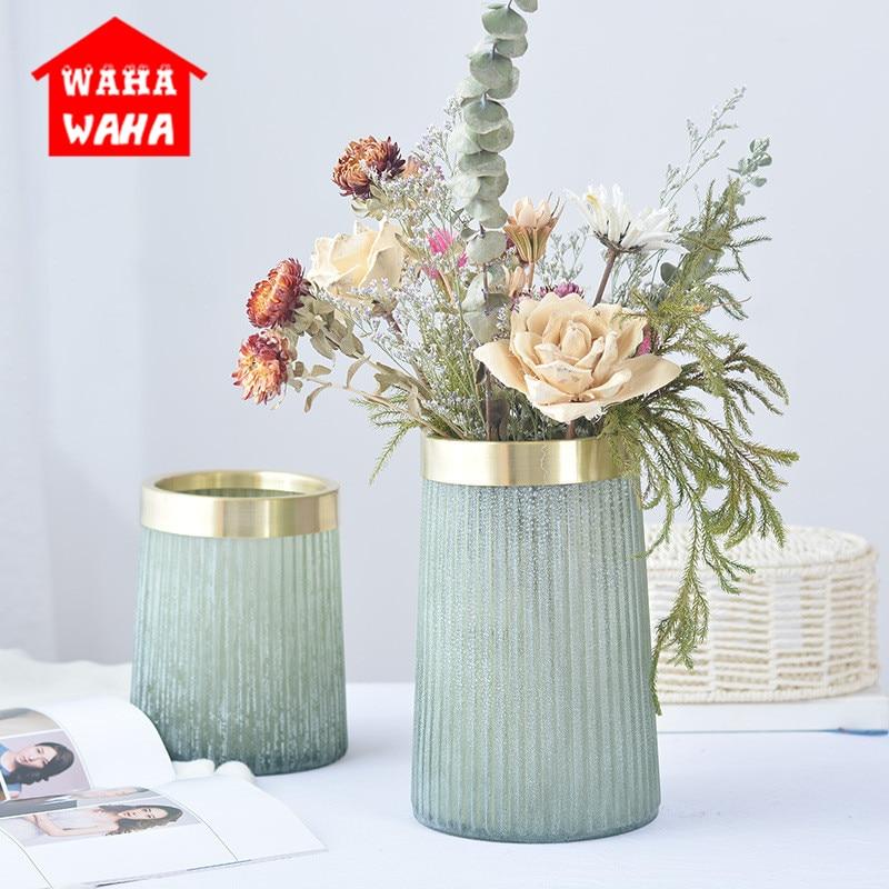 European Gold Copper Ring Green Frosted Glass Vases Vintage Matte Old Glass Bottle Flower Vase Ornament Home Wedding Decortive