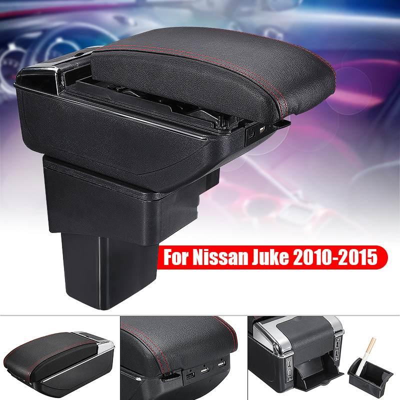 Boîte d'accoudoir de voiture boîte de contenu de magasin Central en cuir noir support de verre accessoires Auto pour Nissan Juke 2010-2015