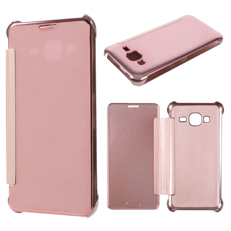 Cover for Samsung Galaxy J3 Cover Shell Plated Mirror Surface PC Leather Cell Phone Case for