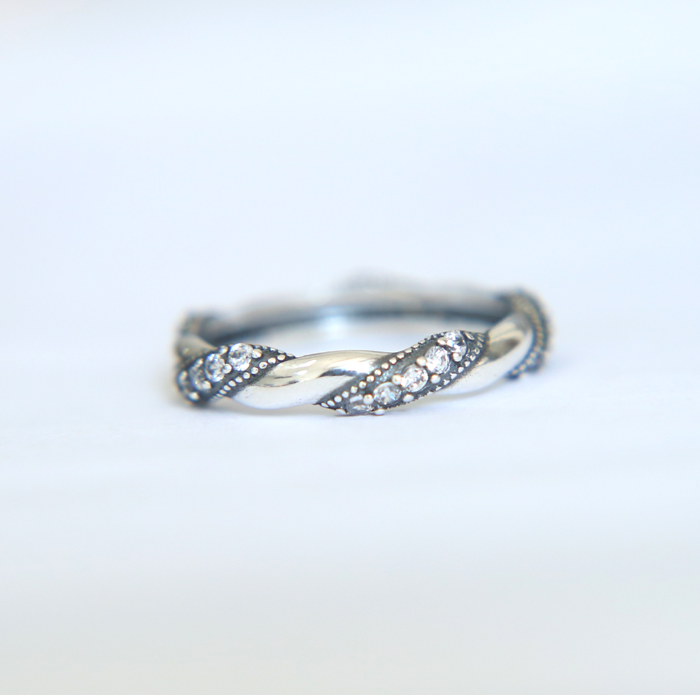 925 Sterling Silver vintage unique rope band Rings