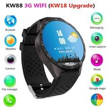 KW88 3G WI-FI Smartwatch GPS Bluetooth Smartwatch Android 5.1 Coração Relógio Monitor de freqüência cardíaca Para iphone huawei Chamada 4G ROM 512 MB RAM
