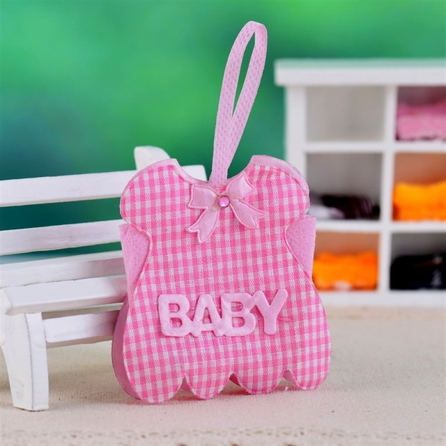 Sweet Baby Dress Design Pink Gingham Non Woven Fabric Favor Bags Baby  Shower Gift Bags