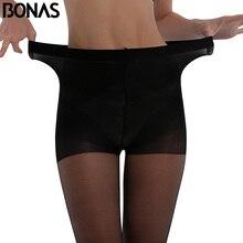 BONAS, женские сексуальные колготки 20D с высокой талией, летние, защита от солнца, колготки, женские, дышащие, высокая эластичность, тонкие, мягкие чулки