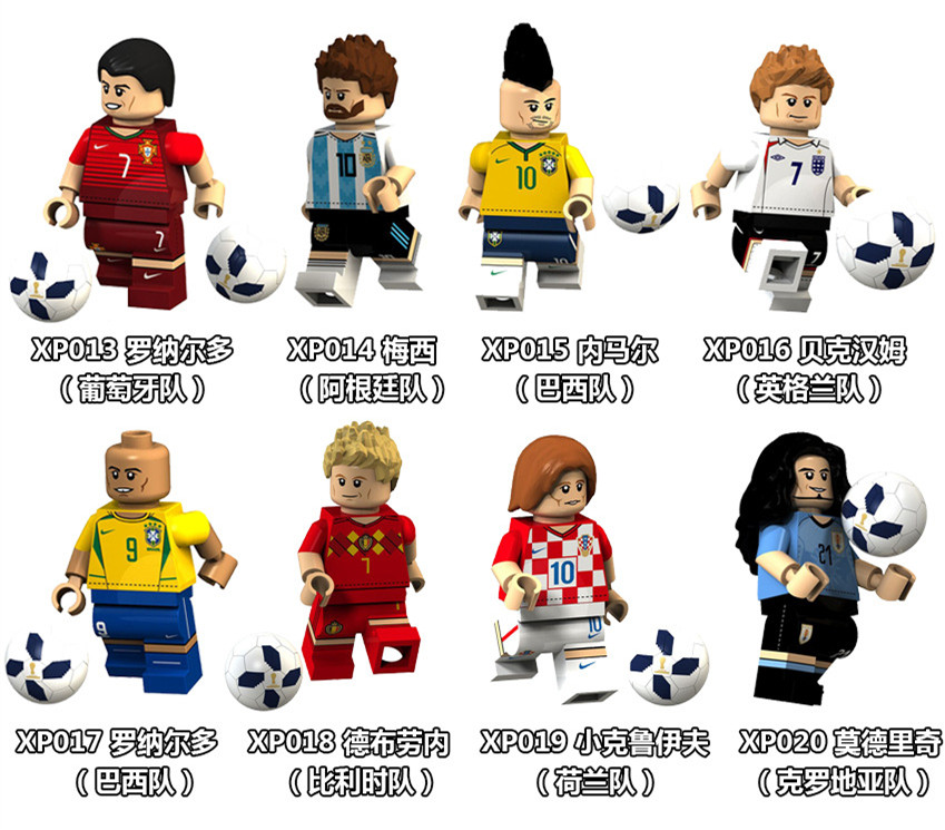 8PCS Football Player Figure Messi Ronaldo Neymar JR Pogba Beckham Ozil Chicharito Model Building Blocks kits Brick Toys