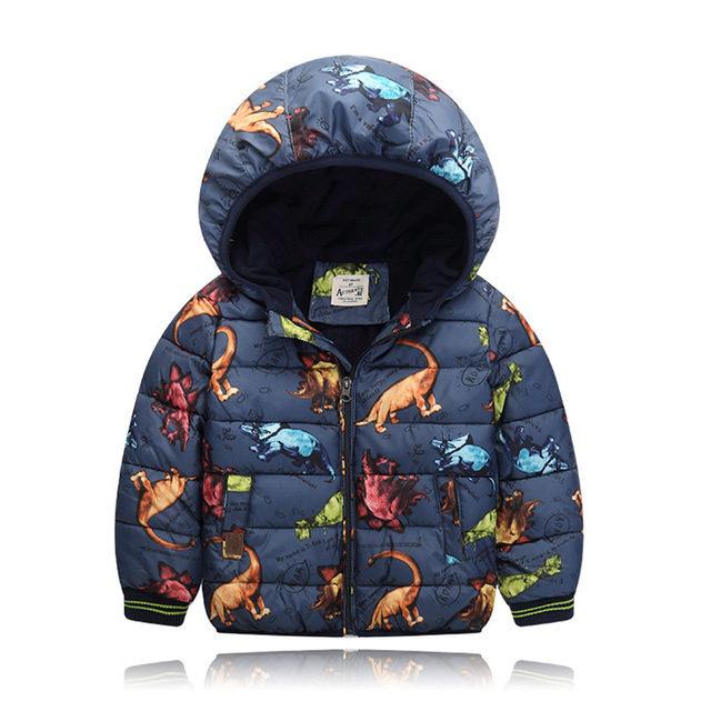 Children's Clothing Cartoon Dinosaur Boys Parka Winter Jacket for Girls 2016 Down Cotton Wadded Jacket  Kids Thicken Hooded Coat