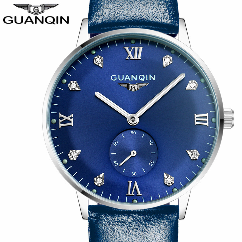 Mens Watches Top Brand Luxury GUANQIN Watch Men Automatic Mechanical Luminous Wristwatch Men's Leather Watch relogio masculino китайский чай ningxia goji berry fruit health beauty 250g f170