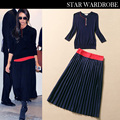 Free shipping new 2014 Autumn Victoria Beckham Style navy blue knitted long-sleeve stretch casual skirt set/suit women set 1306