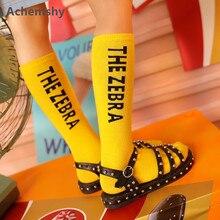ФОТО kids knee high socks original fashionable cotton letter sports tube socks children boys girls long tube leg warm 1-8 t