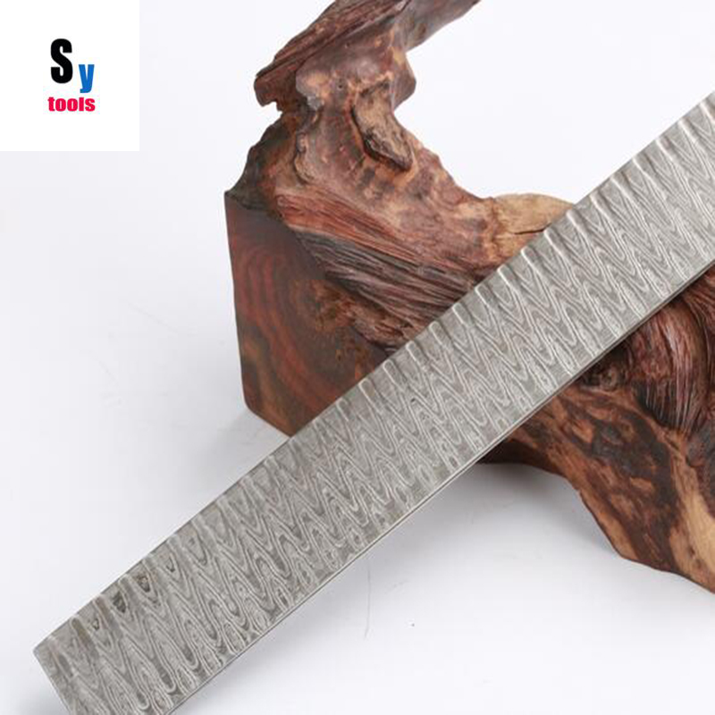 Sy herramientas DIY cuchillo China producen Damasco líneas onduladas de acero patrón soldada hoja del cuchillo en blanco tratamiento térmico DID (no decapado)